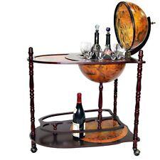 Tabella TROLLEY mappa BAR COOLER vino ARMADIETTO ANTICO VINTAGE IN LEGNO MAPPAMONDO Retrò Nuovo
