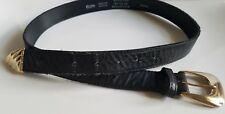 Accessories by Pearl Mens Black Leather Belt Size M 34 Western Silver Buckle