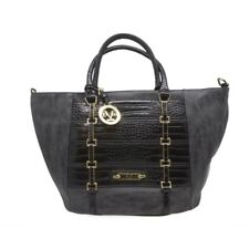 d4c8bc6c2f43 New Versace 19.69 Evangeline Black Faux Leather Convertible Crossbody Tote  Purse