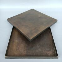Collect Old copper carve blessing fu 福 square Jewelry Boxes Jewel Storage Box