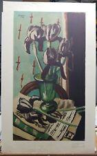 "Max Beckmann Vintage Print ""Black Lilies"" 1951 34""×21"""