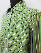 AS NEW Size M Jones New York Green & Black Striped Cotton Blouse- 50cm Bust