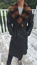 New Designer La Matta Men's Black leather & Fur Collar Trench Coat Sz 42 $2795
