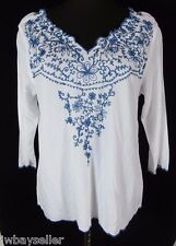 Fresco Nomadic Traders White Blue Floral Embroidered Top Elastic Neckline Sz S