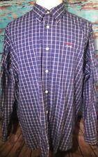 TOMMY HILFIGER Jeans Blue Striped Vtg Spellout Pockets On Sleeve Shirt Men XL