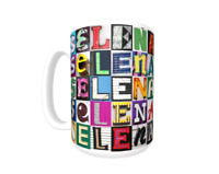SELENA Coffee Mug / Cup featuring the name in photos of sign letters
