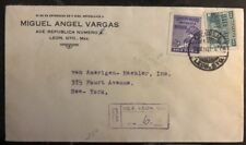 1932 Leon Gto Mexico Commercial cover To New York USA Sunburst Label