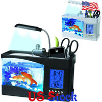 Desk Top Aquarium Lamp LED Mini Self Cleaning Fish Tank Light Office Home Decor