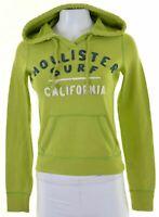 HOLLISTER Womens Hoodie Jumper Size 6 XS Green Cotton  GR08