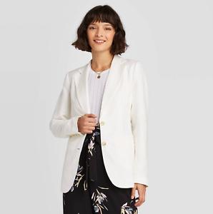 Women's Long Sleeve Linen Blazer - A New Day  Size 10, Cream Ivory, NWT