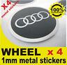 tapas llantas ruedas AUDI GRAY Y PLATA CROMO wheel center caps 4x metal STICKERS