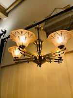 Genuine Art Deco Brass & Pink Moulded Tulip Glass Chandelier, Antique 1930's