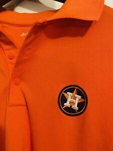 Orange Houston Astros Polo Size Large Performance Material Lightweight Shirt