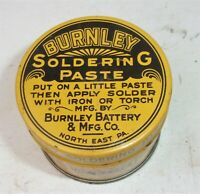 Antique Vintage BURNLEY Soldering Paste Advertising Tin w Contents
