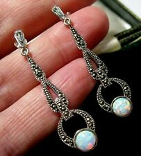 Gilson Opal & Marcasite Drop Earrings Stunning Vintage Style Sterling Silver 925