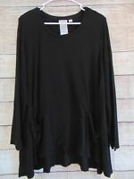 LOGO by Lori Goldstein Knit Top with Pockets Solid Black Asymmetrical Hem