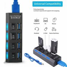 4 Port USB 3.0 Hub Powered Splitter High Speed External AC Laptop Power Adapter