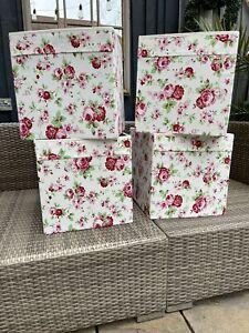 IKEA Rosali Drona Storage Boxes X 4 Kallax Unit Floral Roses Cath Kidston Cubes