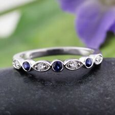 Round Real Diamond Blue Sapphire 950 Platinum 0.45 Ct Eternity Band Size M N P