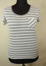 Gestreifte Kurzarm Damenblusen, - tops & -shirts mit U-Ausschnitt