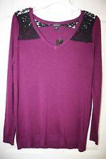 """Torrid"" Long Sleeve Pullover Sweater~Lace Shoulders~Purple~00~NWT"