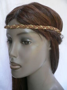 Women Elastic Band Forehead Fashion Brown Head Chain Jewelry Gold Metal bride