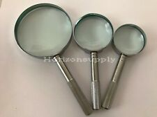 New 3pc Magnifying Glass High Power Set 7X,15X,16X Chrome Plate and Handle