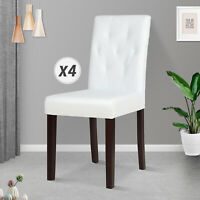 White Set of 4 Dining Chairs Leather Kitchen Dinette Room Tufted Backrest Ivory