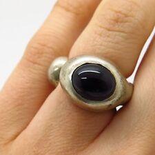 Vtg 925 Sterling Silver Real Black Onyx Gemstone Wide Modernist Ring Size 4.5