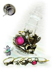 Jewelry European Retro Style 5 in 1 Bowknot Swallow Red Stone Rings