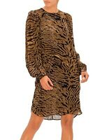 Sold Out! GANNI PRINTED TIGER GEORETTE DRESS, Sz 36( S), RRP $199, BNWT