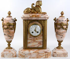 Rare French 1930 Art deco Marble Clock set Sphinx Egypt putti Vases urns set