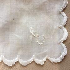 Antique Silk Handkerchief Ladies Embroidered Initial E Hanky 1920 Scalloped Edge