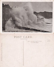 1920's ROUGH SEA AT HASTINGS SUSSEX UNUSED POSTCARD