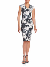 Saks Fifth Avenue Dress 16 XL White Black Blush Floral Stretch Work Party NWT