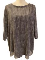 NEW Eileen Fisher Womens Black White Silk Flowy Shirt Top size M Medium