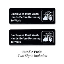 "9"" x 3"" Employees Must Wash Hands Policy Sign w/ Adhesive Back - Black - 2 PACK"