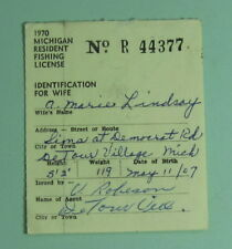 1970 Michigan Conservation Department Resident Wife Fishing License