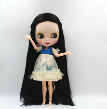 "12"" Neo Blythe factory Doll Long Black Straight  hair Jointed Body Matte face #1"