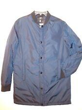 H&M mens full zip long sleeve puffer jacket blue sz 36R Medium long length style