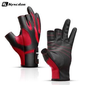 Kyncilor Men Women Fishing Gloves Winter Warm Waterproof Anti-skid 3 Cut Finger