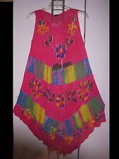 Free Size Dress Cover Up  Floral Embroidery Paint Tie Dye Pink NWT L XL 1X  2X