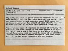 RAFAEL FERRER card 1969 Lucy Lippard 557,087 exhibit seattle vancouver A
