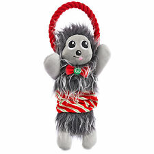 Time For Joy PUPPERMINT HEDGEHOG ROPE TOY Stretchable Squeaky Holiday Festive