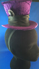 Mad Hatter's tea party hat fancy dress velour and satin hard hat Purple NEW