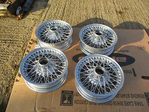 MG Midget Sprite Alpine  4 x13 rebuilt wire wheels chrome powdercoat set of 4