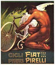 PUBBLICITA' 1912 CICLI FIAT GOMME PNEUS PIRELLI ALI NUDO PLINIO CODOGNATO