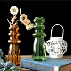 Retro Style Coloured Glass Vase Mid Century Modern Design Home Decor Accessories