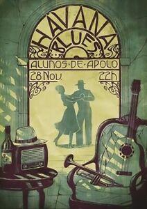 A3 A4 Size - Havana Blues Alunos De Apolo Vintage Art Poster