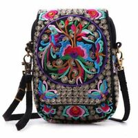 Women Shoulder Bag Travel Pouch Retro Floral Embroidered Crossbody Bag Zip Bag